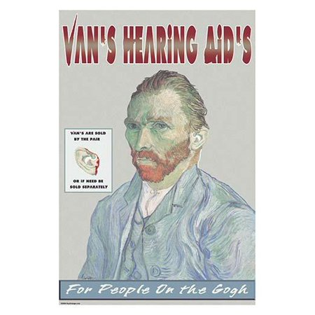 Van Goghs self portrait advertising the fact that in passion he cut off his own ear Poster Print by Wilbur (Best Way To Pierce Your Own Ears)