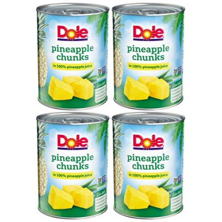 Rothschild Pineapple - (4 Pack) Dole Pineapple Chunks in 100% Pineapple Juice, 20 oz