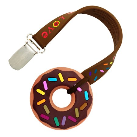 Silli Chews Baby Teether and Pacifier Clip Chocolate Donut Teething Ring Silicone BPA Free Teething Toy For Infants, Toddlers, and Kids, Boys and Girls
