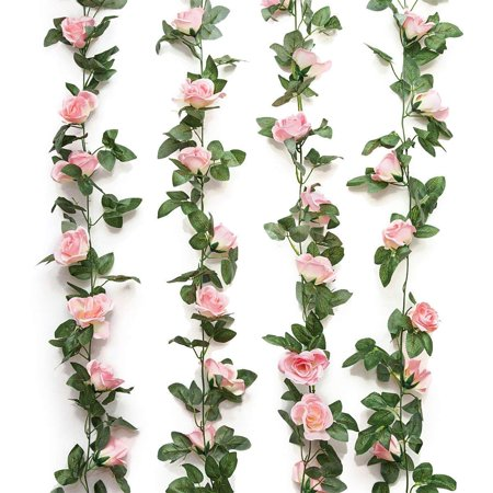 Pink Rose Wine (Coolmade 2Pack 8FT Artificial Fake Rose Vine Garland Artificial Flowers Plants with 16 Rose Flowers for Hotel Wedding Home Party Garden Craft Art Decor (Pink, 2)