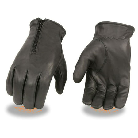 Milwaukee Leather Men's Thermal Lined Leather Gloves w/ Zipper Closure