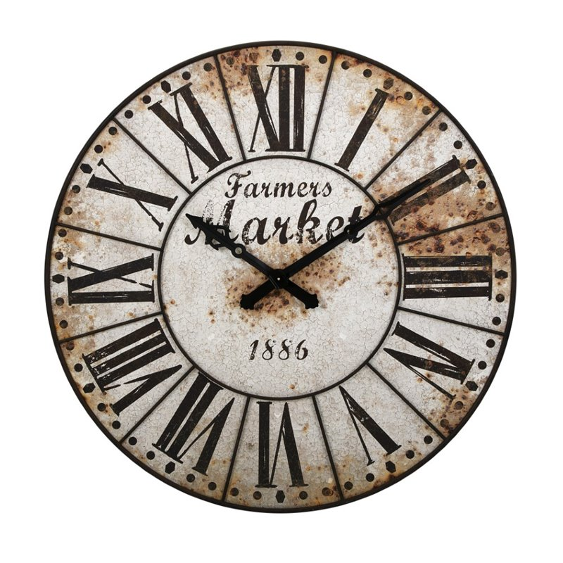 IMAX Corporation Farmers Market Oversized Wall Clock in White