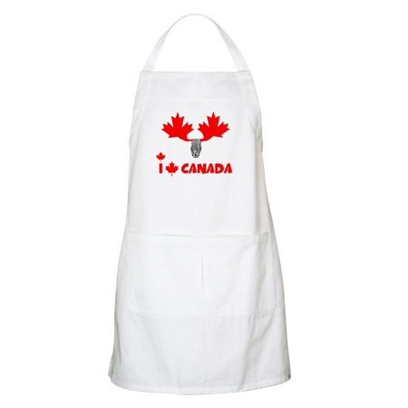 CafePress - I Love Canada Canadian Moose BBQ Apron - Kitchen Apron with Pockets, Grilling Apron, Baking