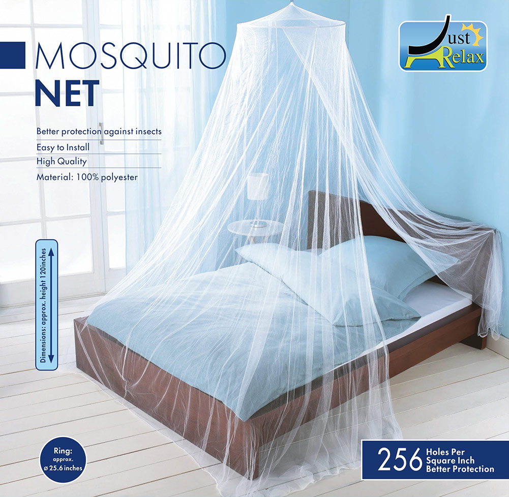 Just Relax Elegant Mosquito Net Bed Canopy Set, White, Queen-King