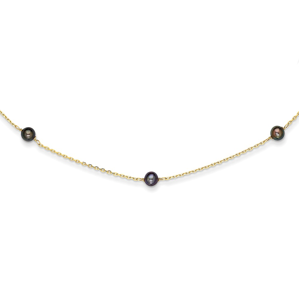 14K Black FW Cultured Pearl Necklace by Jewels By Lux