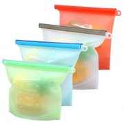 4-PACK Reusable Silicone Food Preservation Bag Airtight Seal Food Storage Container Versatile Kitchen Cooking Bag(7*9 in)