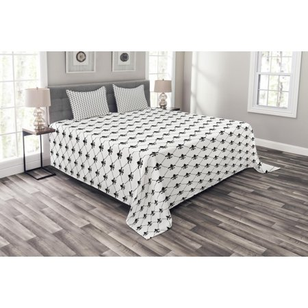 Fleur De Lis Bedspread Set, French Damask Composition Monochrome Pattern Royal Classic Insignia Motif, Decorative Quilted Coverlet Set with Pillow Shams Included, Black White, by Ambesonne (Damask Needlepoint)