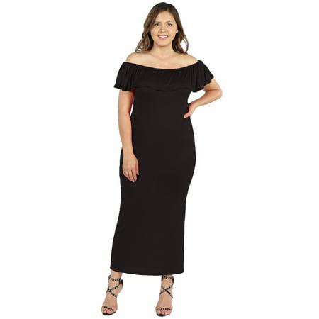 Women's Plus Size Ruffle Off The Shoulder Maxi Dress