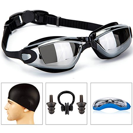GAOGE Swimming Goggles + Swim Cap + Case + Nose Clip + Ear Plugs,Swim Goggles Anti Fog UV Protection for Adult Men Women Youth Kids Child (Best Swimming Goggles In The World)