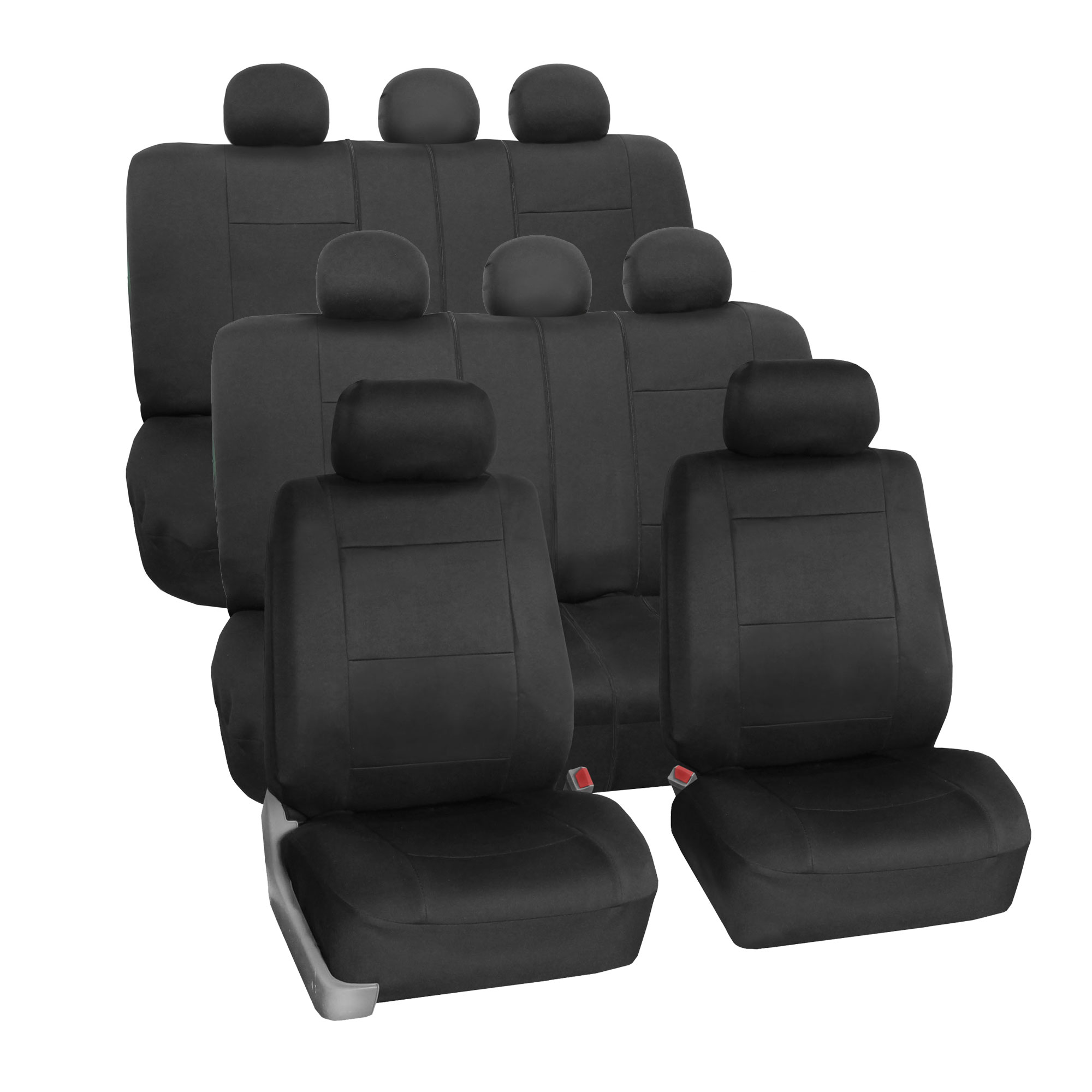 Neoprene 3 Row Car Seat Covers For SUV VAN TRUCK, Airbag Compatible Split Bench 8 Seaters, Black