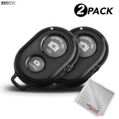 Zeikos Wireless Bluetooth Camera Shutter Remote Control for Smartphones, Tablets, and Professional Cameras- Create Amazing Photos and Selfies - Compatible with All -iOS and Android Devices - 2 Pack