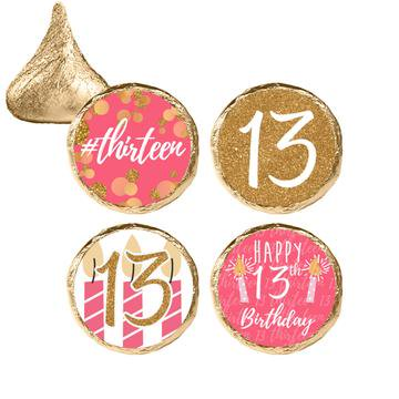 13th Birthday Party Themes (Pink and Gold 13th Birthday Stickers 324ct - 13th Birthday Party Supplies Chic 13 Birthday Decorations Favors - 324 Count)