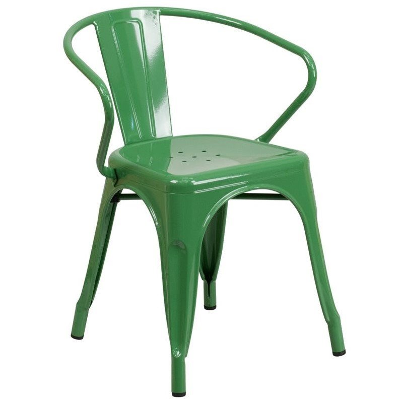 Flash Furniture Metal Dining Arm Chair in Green