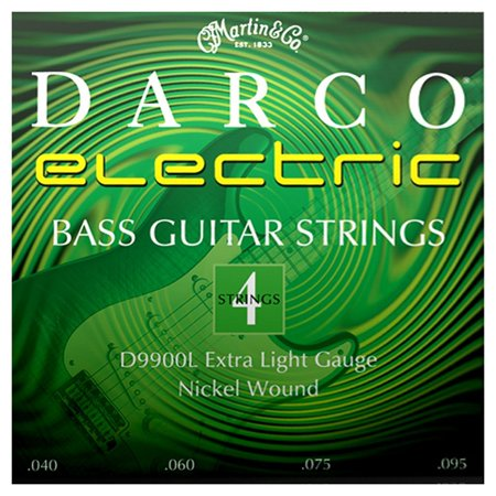 Darco D9900L Nickel Plated Bass Guitar Strings, Extra Light, Electric bass strings By CF Martin Co From USA