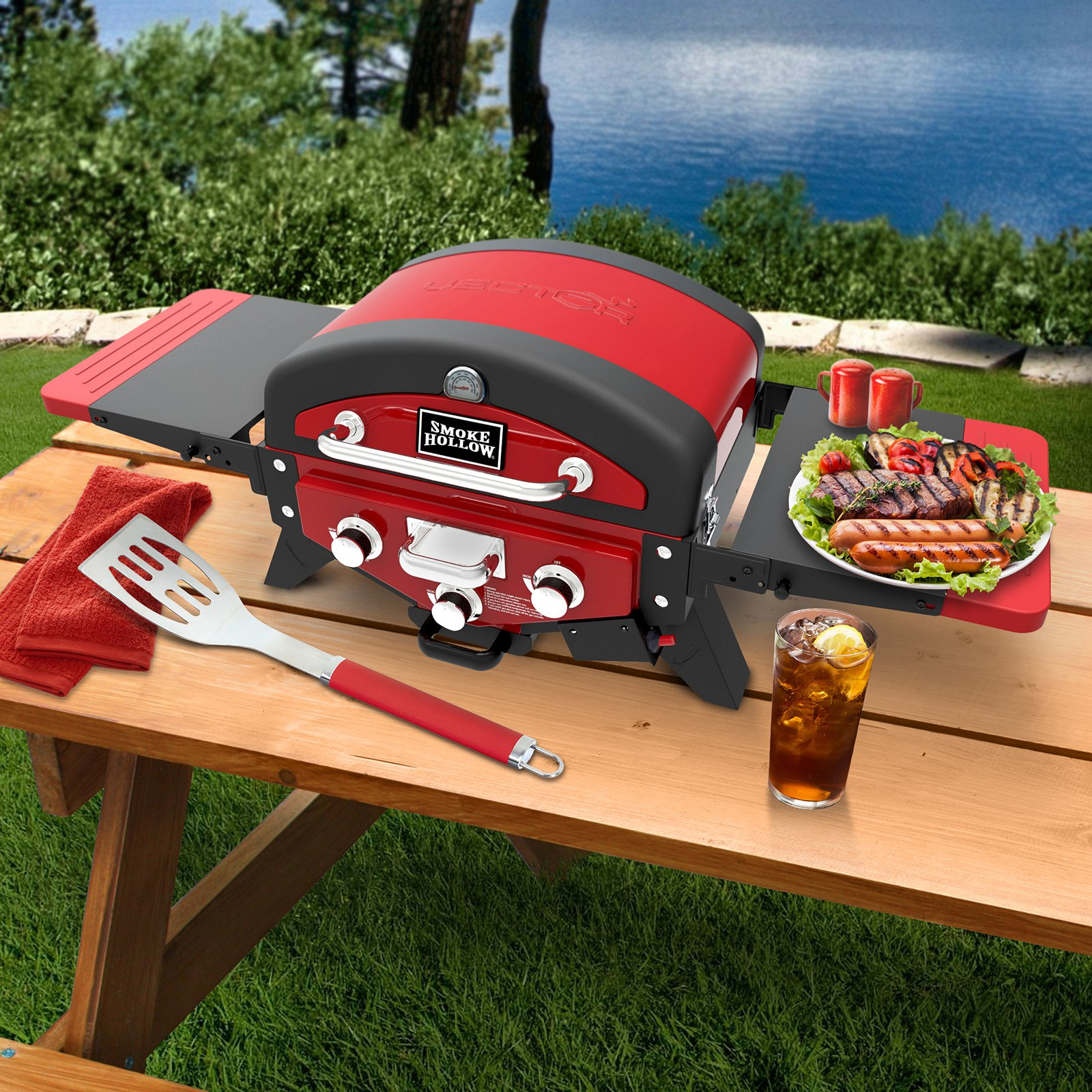 Vector Series 3-Burner LP Gas Tabletop Grill, Red