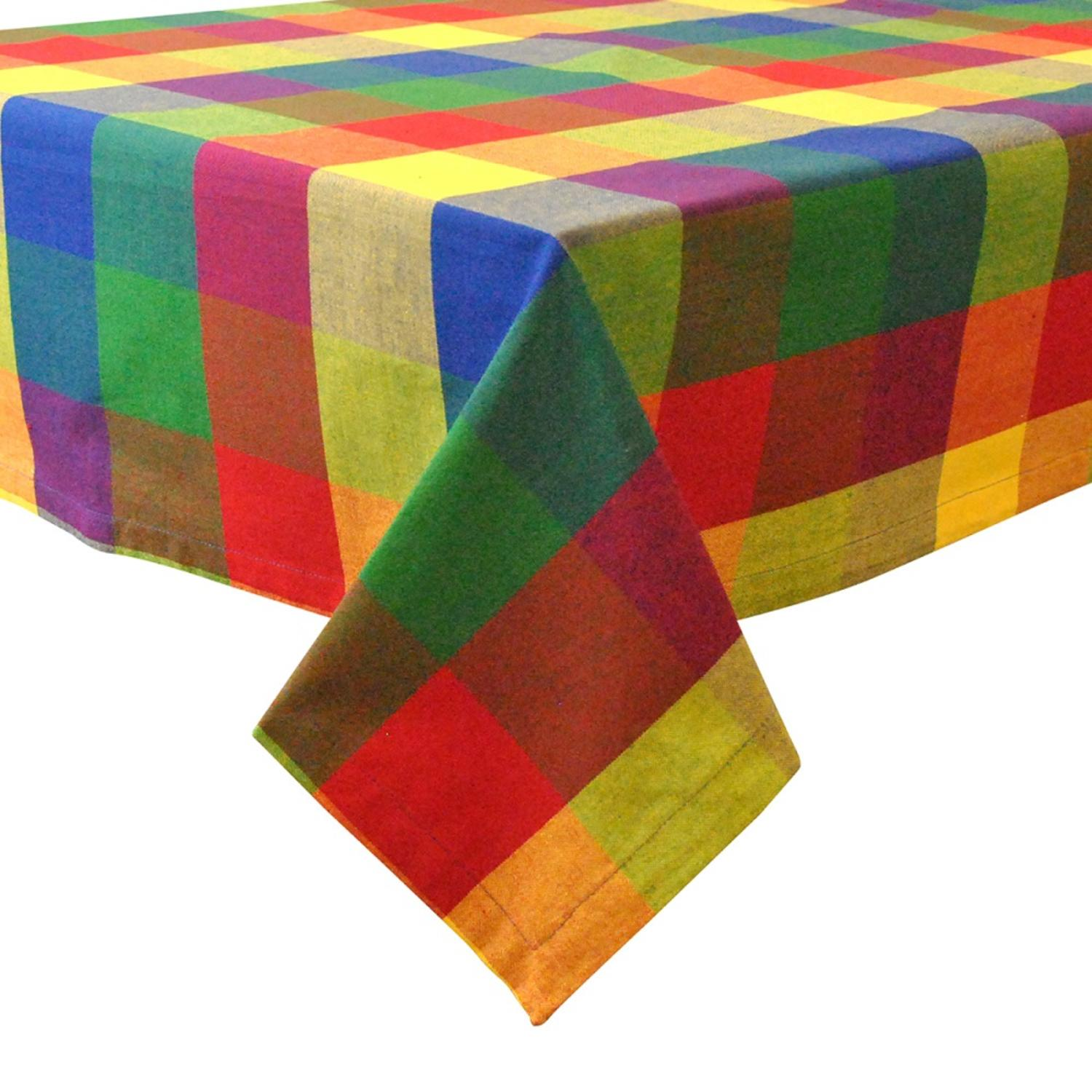 "Vivid Summers Colorful Checkered Square Table Cloth 52"" x 52"