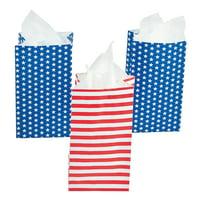 Mini Patriotic Paper Treat Bags (2Dz) - Party Supplies - 24 Pieces