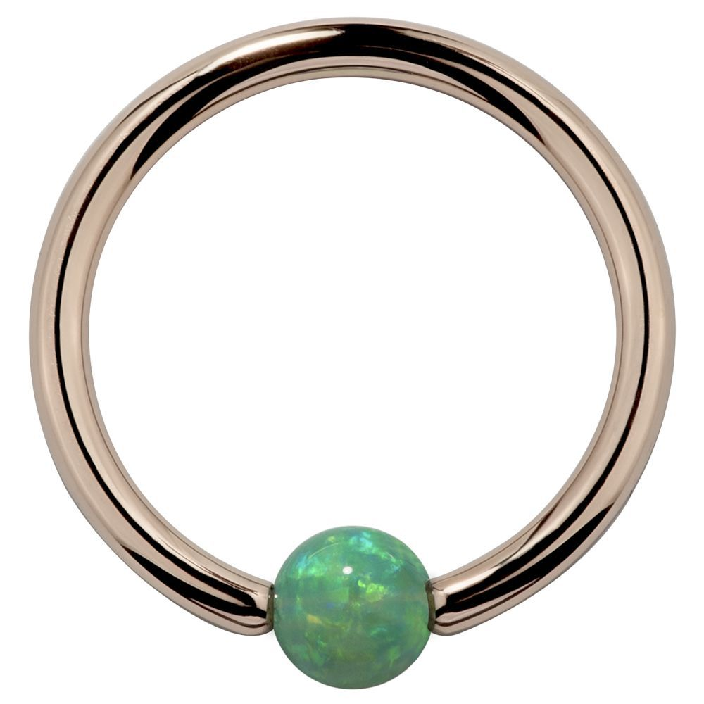 White Opal Solid 14kt Rose Gold Captive Bead Rings in 14G 18G by