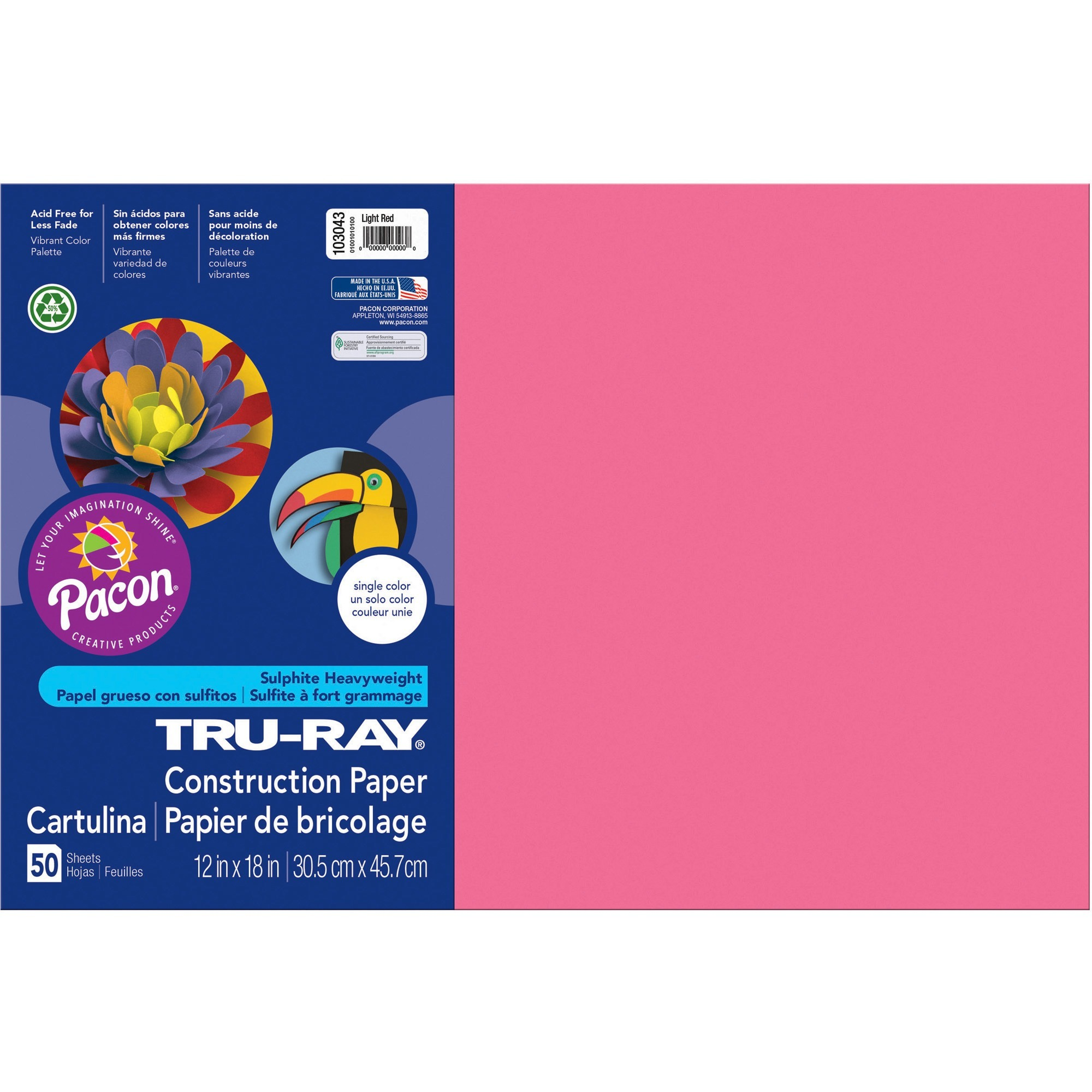 Tru-Ray, PAC103043, Construction Paper, 1 Pack, Light Red