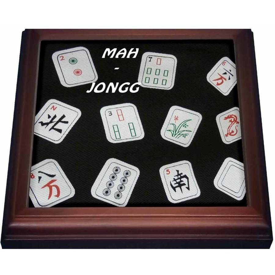 3dRose Mah Jongg Tiles On Black, Trivet with Ceramic Tile, 8 by 8-inch