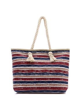 eb9f35cc8f0a Product Image BRC Fashion Large Classic Canvas Zippered Beach Bag Tote -  Fully Lined Interior