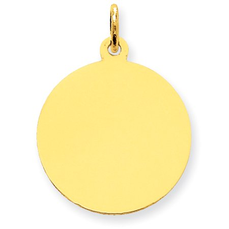 14k Yellow Gold Plain 0.011 Gauge Circular Engravable Disc Charm (1in long x 0.7in (Brass Circular Charm)