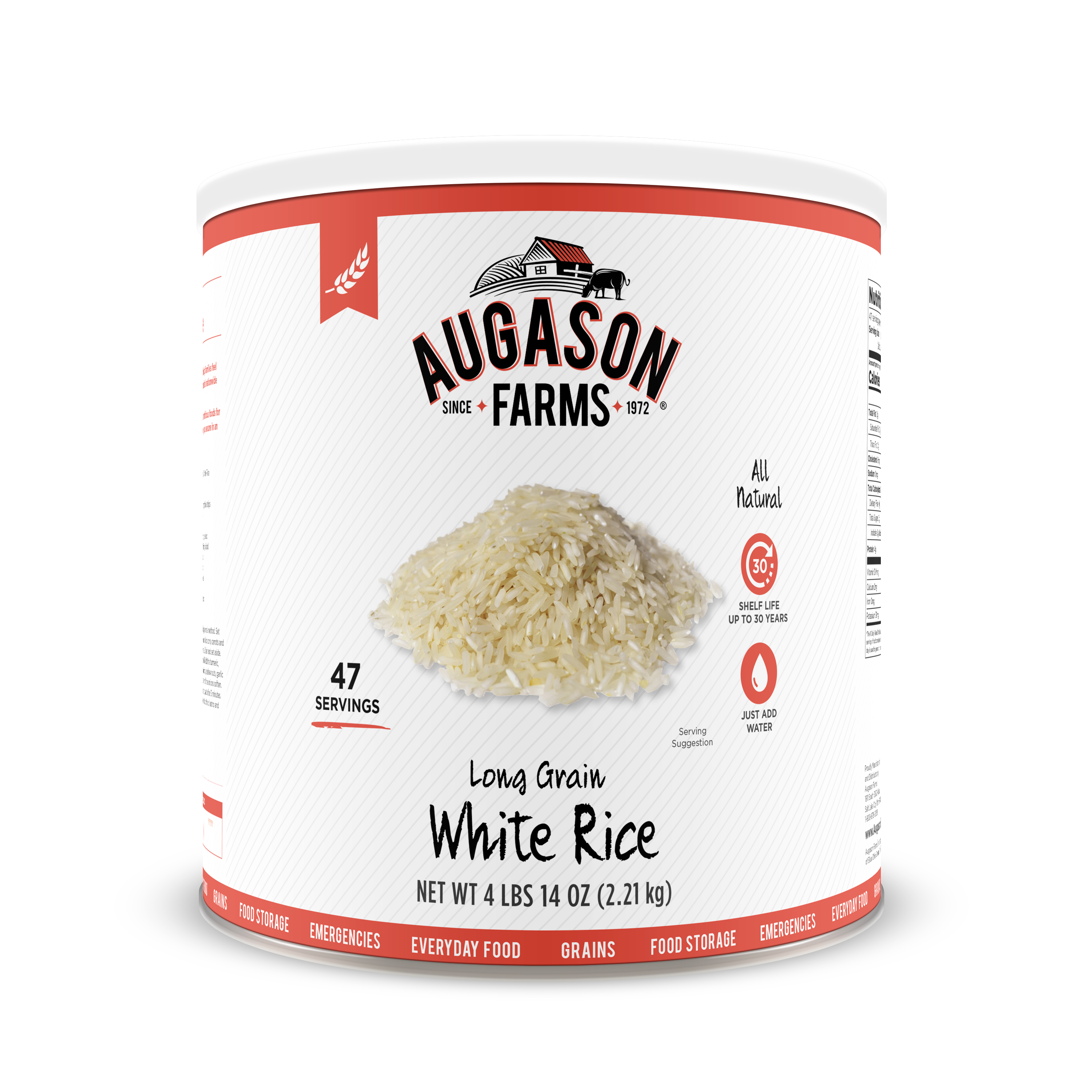 Augason Farms Long Grain White Rice 4 lbs 14 oz No. 10 Can