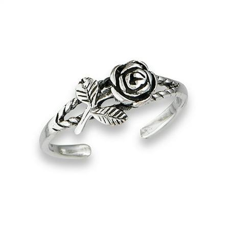 Leaf Rose Rope .925 Sterling Silver Oxidized Midi Sideways Flower Toe Ring Band