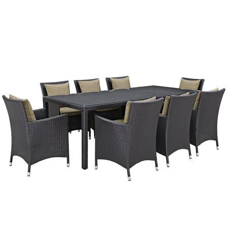 Modway Convene 9 Piece Outdoor Patio Dining Set, Multiple