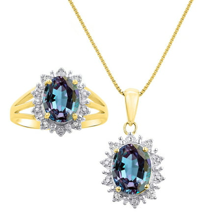 Birthstone Ring Pendants (Princess Diana Inspired Halo Diamond & Simulated Alexandrite Matching Pendant Necklace and Ring Set In Yellow Gold Plated Silver with 18