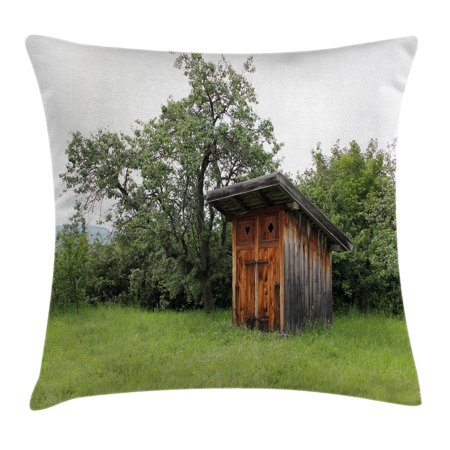 Outhouse Throw Pillow Cushion Cover, Wooden Little Hut Barn Shed Cottage in Nature Forest Image, Decorative Square Accent Pillow Case, 18 X 18 Inches, Forest Green Light Green and Brown, by Ambesonne Dark Brown Forest Green