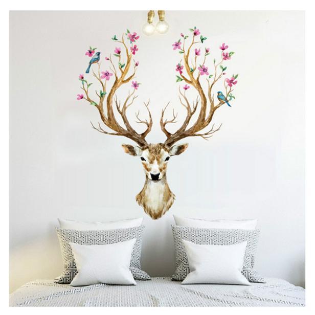 3D Plum flower deer Wall Stickers DIY Decoration PVC Removable Waterproof