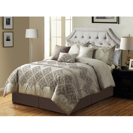 7-Pc Cullen Floral Damask Embroidery Pleated Stripe Comforter Set Antique Beige Gray (Antique Floral Queen)