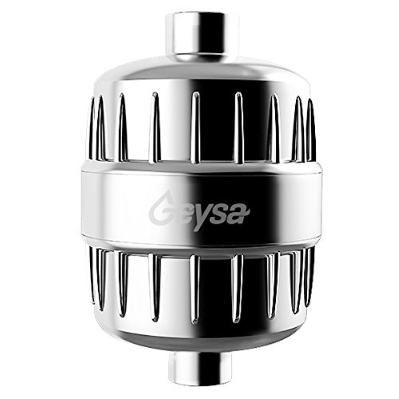 Geysa High Output shower filter with 2 8-stage filter cartridges, lasts 1 year - Chrome