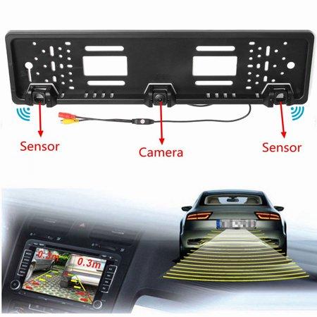 Car Reversing Rear View HD Camera EU License Plate & Parking Sensor Radar Probe - image 11 de 13
