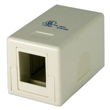 Single Port Beige Surface Mount Box for CAT5 Keystone Jack (Go Keystone Surface Box)