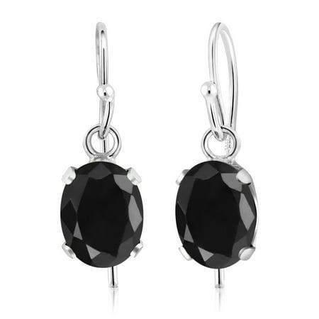 2.14 Ct Oval Black Sapphire 925 Sterling Silver Earrings