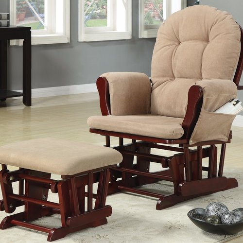 Harriet Bee Caffee Chicly Elegant Glider Manual Swivel Recliner with Ottoman