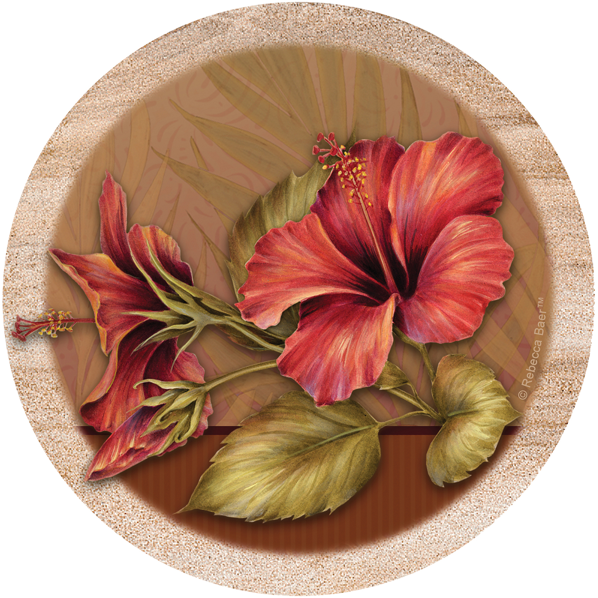 Thirstystone Drink Coasters Set, Hibiscus