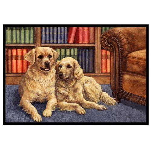 Golden Retrievers in the Library Doormat by Caroline's Treasures
