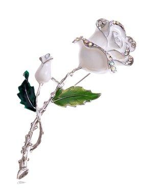 Product Image Silver Tone White Enamel Painted Rhinestone Rose Flower Fashion Pin Brooch