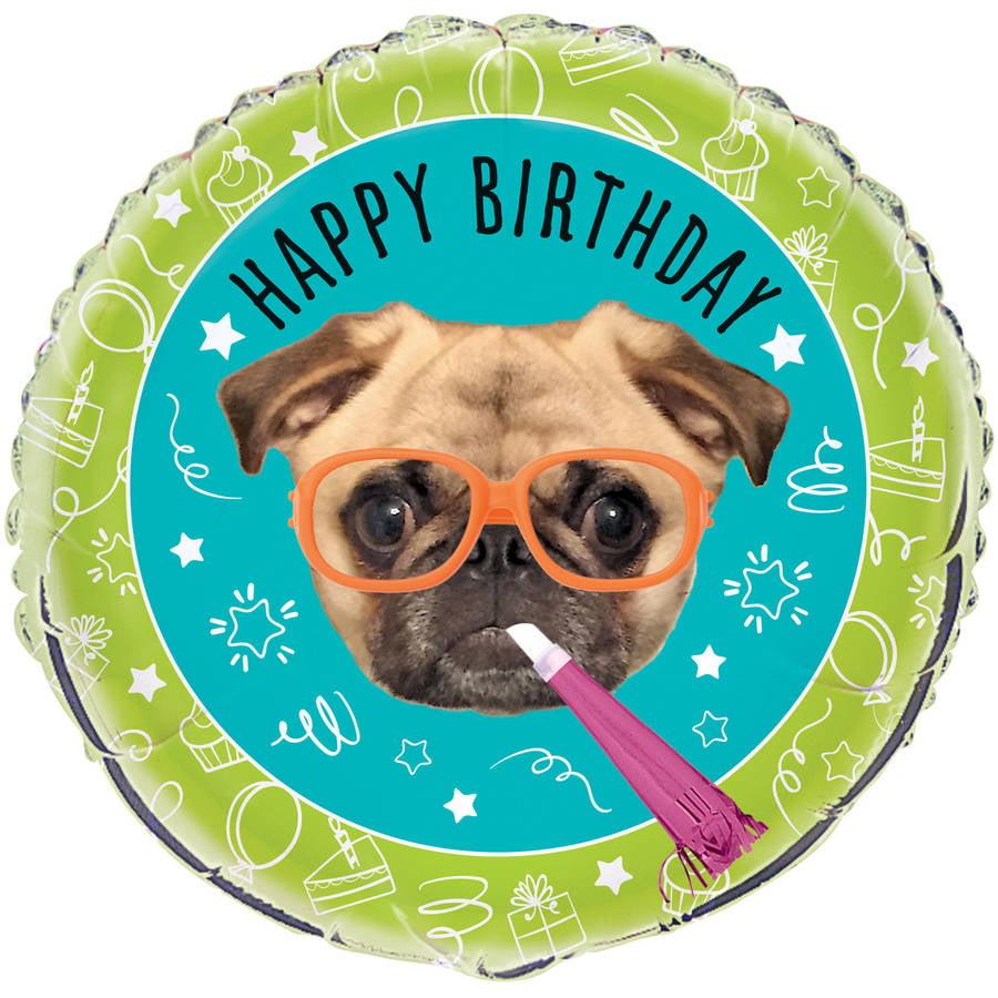 "18"" Foil Round Pug Dog Party Balloon"
