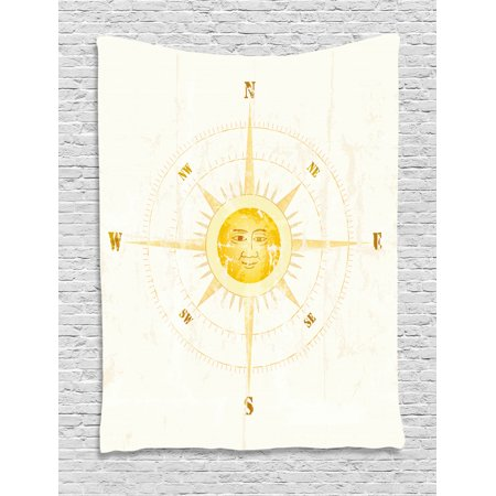Compass Tapestry, Vintage Boating Windrose with the Face of the Sun in the Middle North South East West, Wall Hanging for Bedroom Living Room Dorm Decor, Yellow, by Ambesonne ()