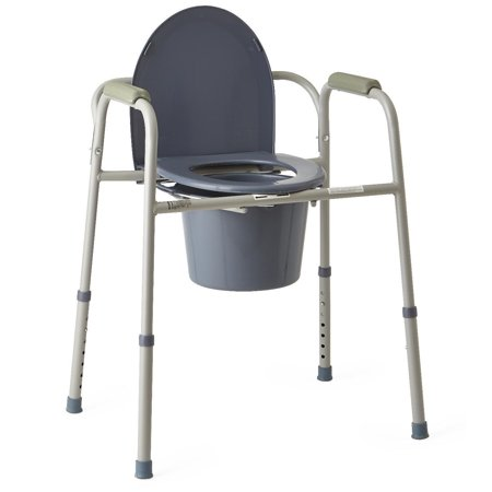 Medline 3-in-1 Steel Bedside Commode Chair Adjustable Bathroom Aid Safety Rails ()