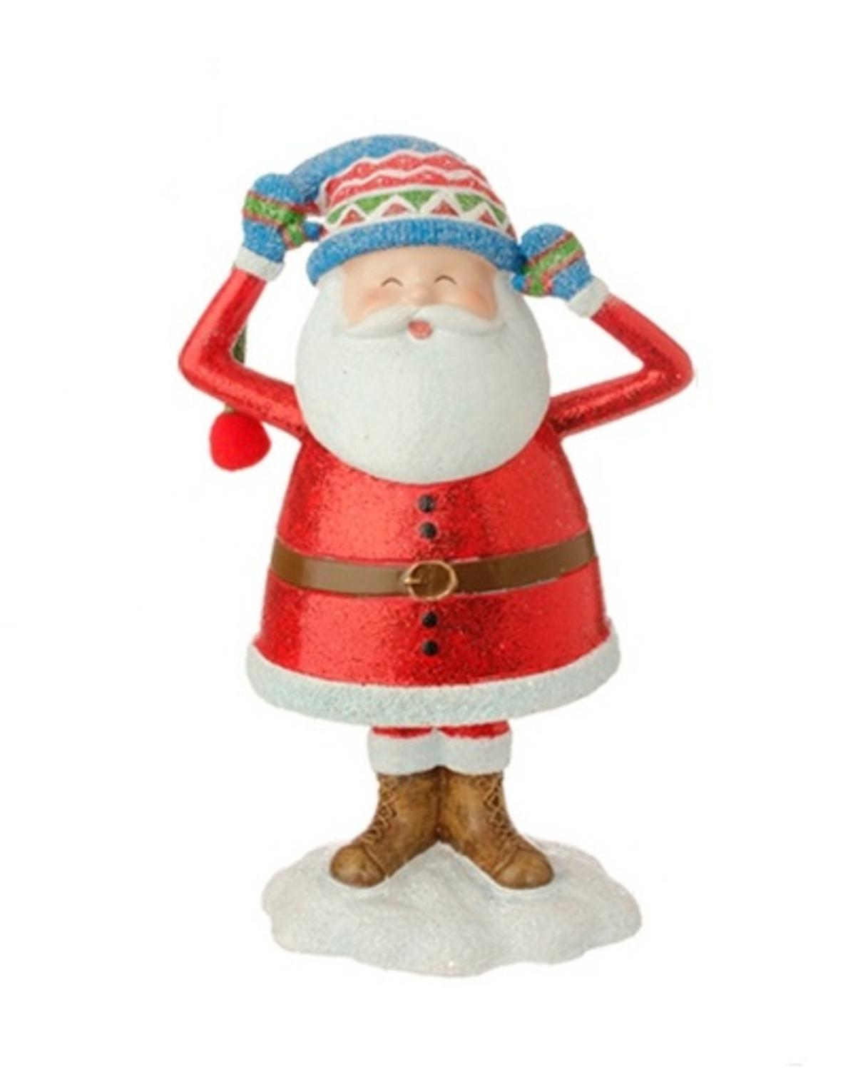 """7.5"""" Merry & Bright Jolly Santa Holding Hat Glitter Drenched Christmas Figure Decoration"""