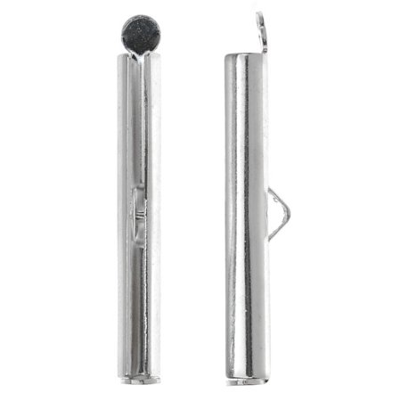 Gm Ribbon - Nunn Design Ribbon Cord Ends, Barrel 33.5mm, 2 Pieces, Bright Silver
