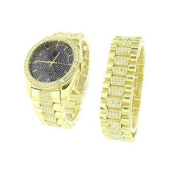 Gold Finish Watch Bracelet Mens Gift Set Lab Diamonds Black Dial Steel Back S