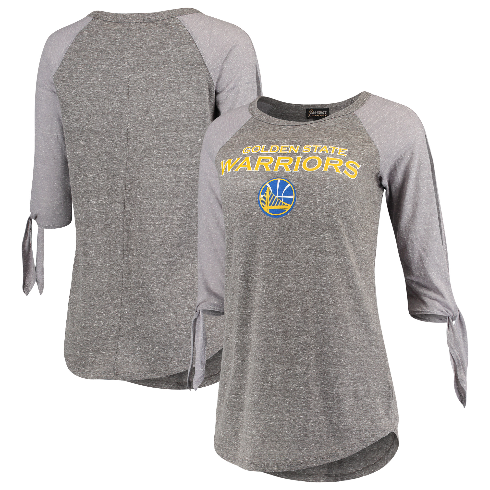 Golden State Warriors Women's Open Shoulder Raglan Tri-Blend 3/4-Sleeve T-Shirt - Heathered Gray