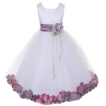 Kids Dream Baby Girls White Satin Petal Flower Girl Dress 18M