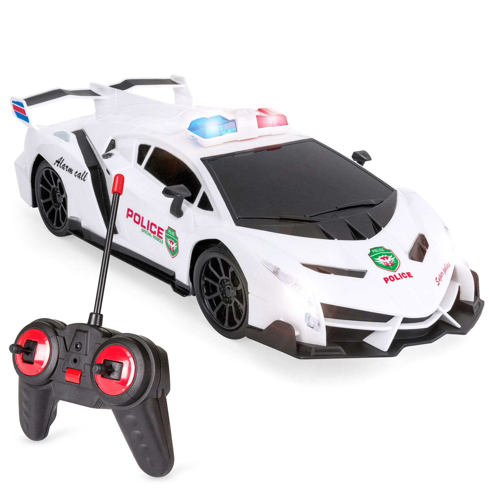 Best Choice Products Kids Remote Control Police Sports Car Toy w/ Headlights, Police Lights - White